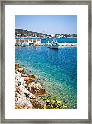 Skiathos Harbour Framed Print by Tom Gowanlock