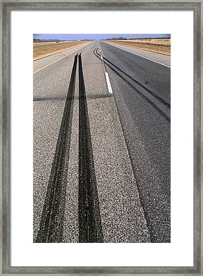 Skid Marks Framed Print by Alan Sirulnikoff
