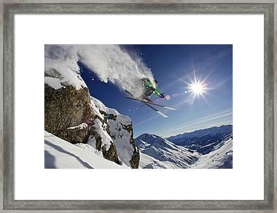 Skier In Midair On Snowy Mountain Framed Print by Michael Truelove