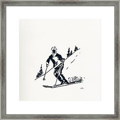 Skier Iv Framed Print by Winifred Kumpf