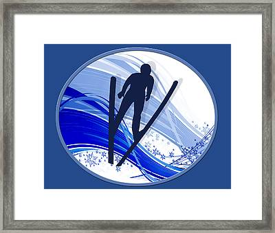 Skiing And Snowflakes Framed Print