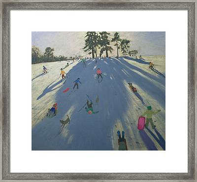Skiing Framed Print by Andrew Macara