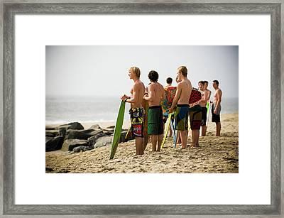 Skim Boarders Framed Print by Russ Meseroll
