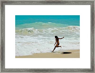Skim Boarding Framed Print by Dan McManus