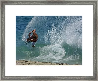 Skimboard In Shorebreak Framed Print