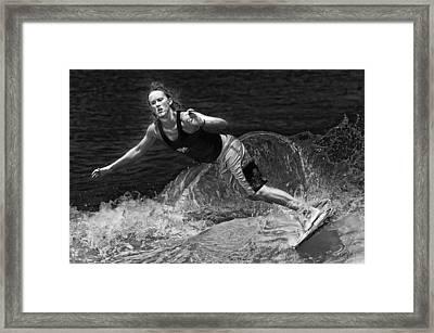 Skimmer Girl 2 Black And White Framed Print by Wade Aiken