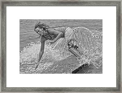 Skimmer Girl 3 Black And White Framed Print by Wade Aiken