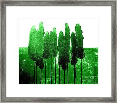 Skinny Green Trees Framed Print by Marsha Heiken