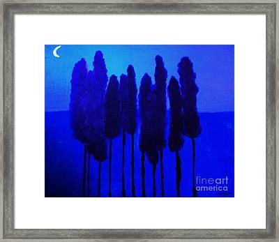 Skinny Trees By The Moonlight Framed Print by Marsha Heiken