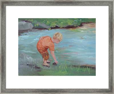 Framed Print featuring the painting Skipping Stones by Carol Berning