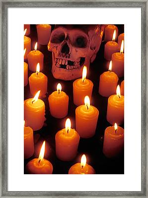 Skull And Candles Framed Print by Garry Gay
