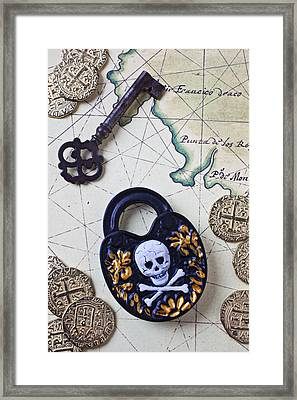 Skull And Cross Bones Lock Framed Print