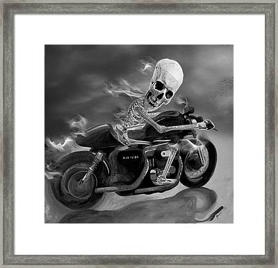Skull Rider On Cafe Sportster Framed Print by Janet Oh
