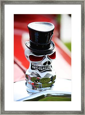 Skull With Top Hat Hood Ornament Framed Print by Garry Gay