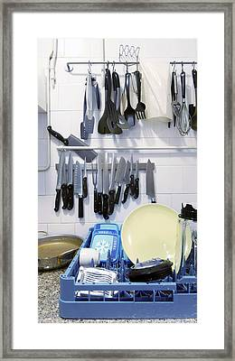 Skullery With Dishes In A Rack Plumbing Framed Print by Corepics