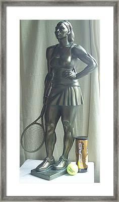 Skupture Tennis Player Framed Print by Zlatan Stoilov