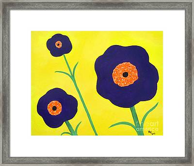 Framed Print featuring the painting Sky High Flowers by Alys Caviness-Gober