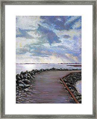 Sky Shore A Framed Print by Peter Jackson