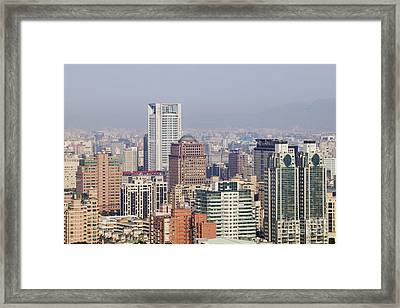 Skyline Of Downtown Taipei On A Smoggy Day Framed Print by Jeremy Woodhouse