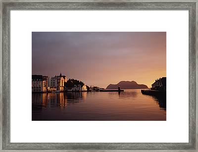 Skyline Of Town At Dusk Framed Print by Axiom Photographic