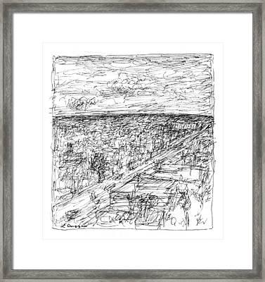 Skyline Sketch Framed Print by Elizabeth Carrozza