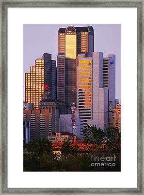 Skyscrapers In Downtown Dallas Framed Print by Jeremy Woodhouse