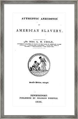 Slavery. An Abolitionist Book. The Framed Print by Everett