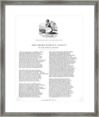 Slavery. An Abolitionist Poem Entitled Framed Print by Everett