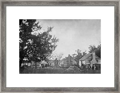 Slaves Sitting Near Their Cabins Framed Print by Everett