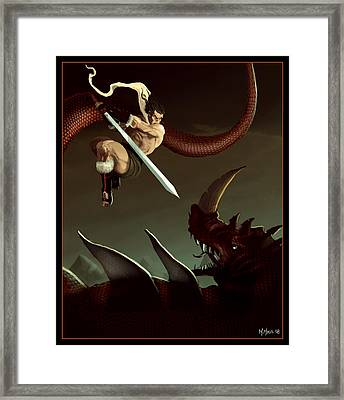 Framed Print featuring the digital art Slay The Dragon by Michael Myers