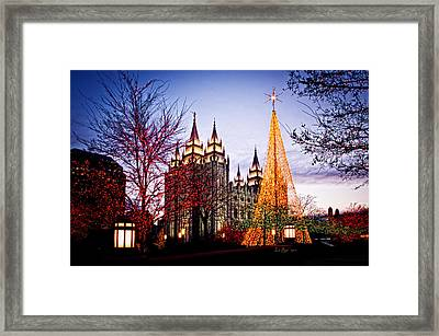 Slc Temple Tree Light Framed Print by La Rae  Roberts