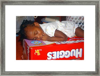 Sleeping Baby Framed Print by Bill Mortley