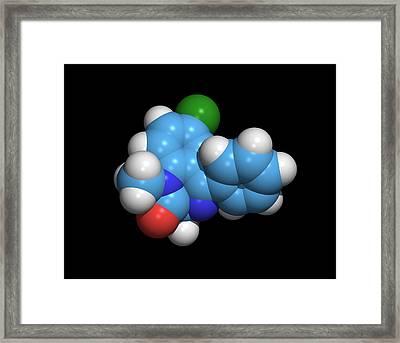 Sleeping Pill Molecule Framed Print by Dr Tim Evans