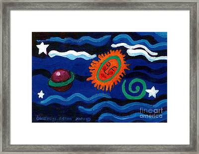 Sleeping Sun And Saturn With Spiral Framed Print by Genevieve Esson