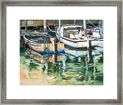 Framed Print featuring the painting Sleepy Harbor 3 by Rae Andrews