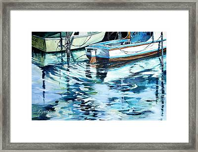 Framed Print featuring the painting Sleepy Harbor  by Rae Andrews