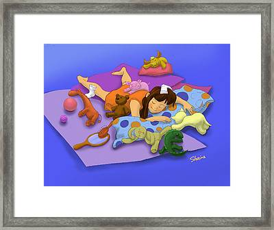 Sleepy Night Framed Print by Shaina  Lee