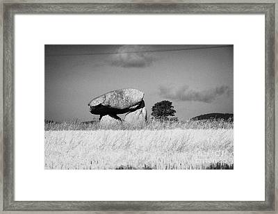 Slidderyford Or Wateresk Dolmen Situated In The Middle Of A Field Of Barley In County Down Northern  Framed Print by Joe Fox