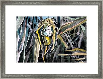 Slipper Foot Gold Framed Print by Mindy Newman