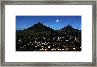 Slo Setting Moon Framed Print by TB Schenck