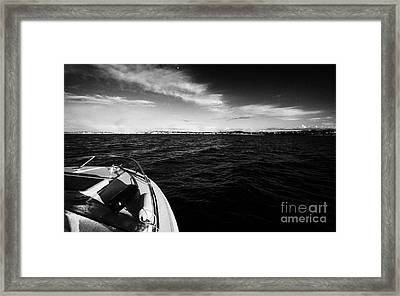 Small Boat Approaching Bangor From Belfast Lough County Down Northern Ireland Framed Print by Joe Fox