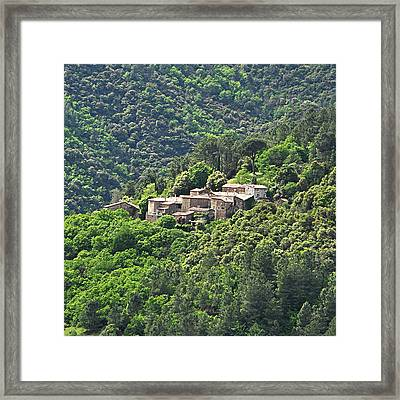 Small House On Mountain Framed Print by Filou-France