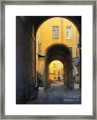 Small Street Court Yard Framed Print