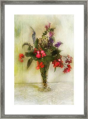 Small Vase Of Flowers Framed Print by John Rivera
