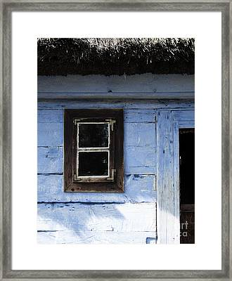 Framed Print featuring the photograph Small Window On Blue Wall by Agnieszka Kubica