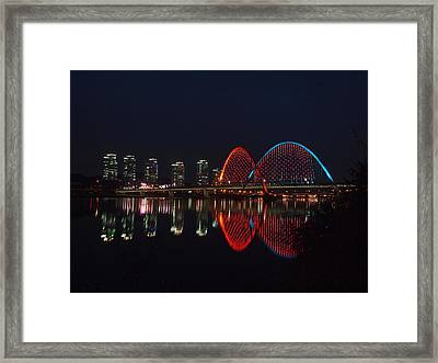 Smart City-apartments-reflection-expo Bridge-daeje Framed Print by Copyright Michael Mellinger