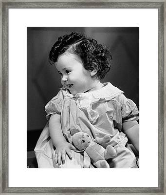 Smiling Baby W/teddy Bear Framed Print by George Marks