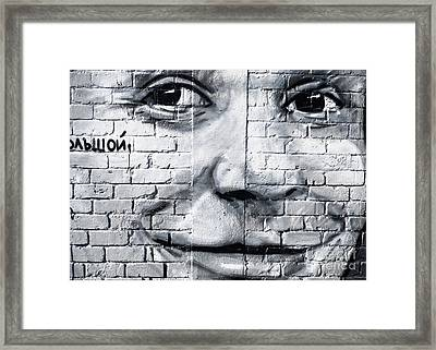 Smiling From The Graffiti Wall Framed Print