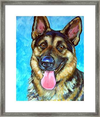Smiling German Shepherd Framed Print