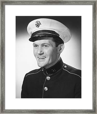 Smiling Man In Military Uniform Posing In Studio, (b&w), Portrait Framed Print by George Marks